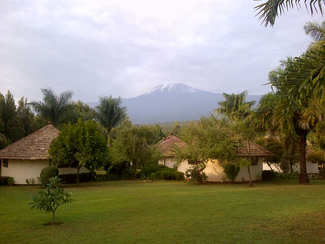 View of Mt. Kilimanjaro from Kilemakyaro Lodge, Moshi.
